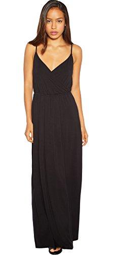 Rohb by Joyce Azria Garden District Long Maxi Faux Wrap Dress (Black) Size S