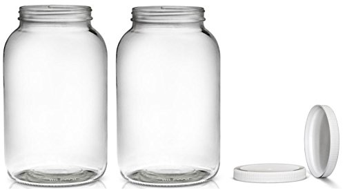 2 Pack ~ Wide Mouth 1 Gallon Clear Glass Jar - White Lid with Liner Seal for Fermenting Kombucha/Kefir, Storing and Canning/USDA Approved, Dishwasher Safe ()