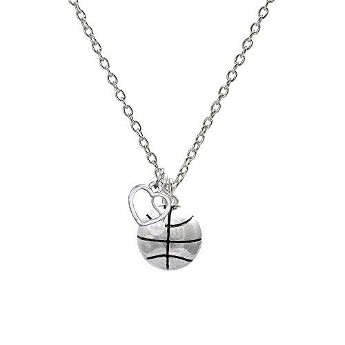 Basketball Heart Silver Basketball Necklace (Enamel Basketball Charm)
