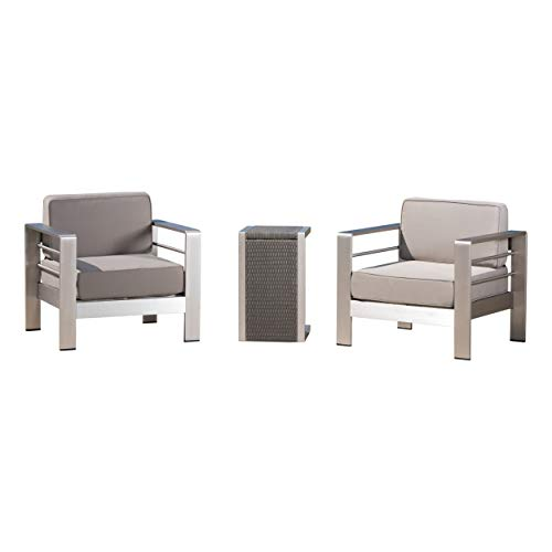 GDFStudio Crested Bay Patio Furniture Outdoor Aluminum Patio Chairs with Side Table Chat Set Khaki Grey