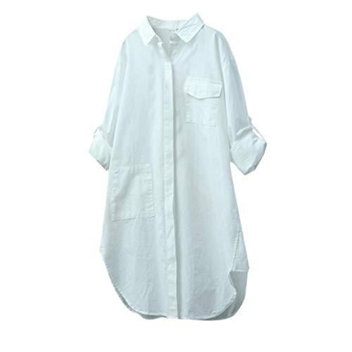 Blouses for Womens, FORUU Cotton Linen Solid Long Sleeve Shirt Button Down Tops