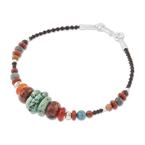 (NOVICA Multi-Gem Agate .925 Sterling Silver Beaded Bracelet, 7