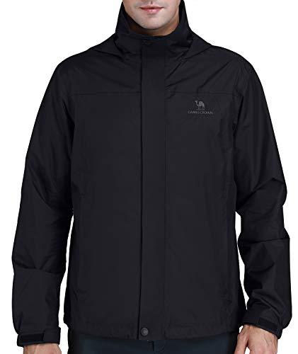 CAMEL CROWN Mens Waterproof Jacket Hooded Windbreaker Windproof Rain Coat Shell for Outdoor Hiking Climbing Traveling Black L