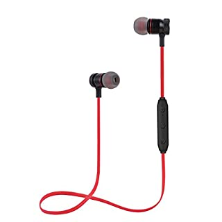 Wireless Earbuds Bluetooth Headphones Sports Earbuds Sweatproof Headset Magnetic Attraction Stereo Earphones for Running Workout Gym Noise Cancelling for Running Headset SAN.COMO (Red)