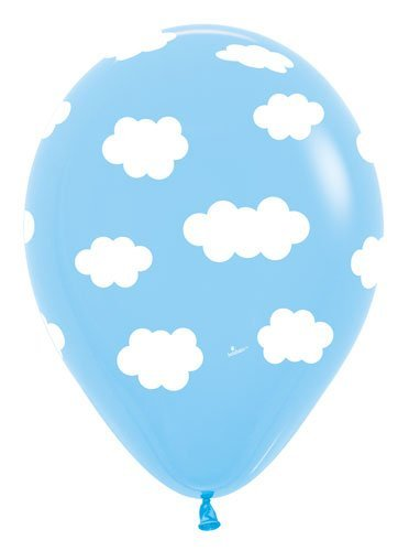 Clouds Latex Balloons - Bag of 10 Size 11 inches Air or Helium Fill - High Sky Wing
