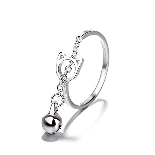 (925 Sterling Silver Plated Two-tone Boho Cat and Bell Charm Women Adjustable Tassel Band Ring )