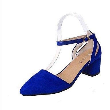 Talones de las mujeres Zapatos Primavera Verano Otoño del Club Comfort correa del tobillo de la PU Suede Oficina Boda Carreras y vestido de noche de tacón grueso informal Purple