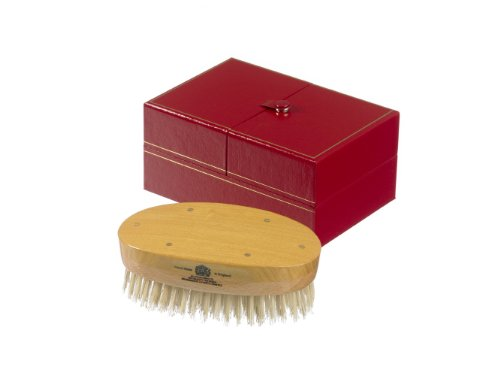 Kent Brushes Handmade Military Oval Bristle Hairbrush for Men White by Kent