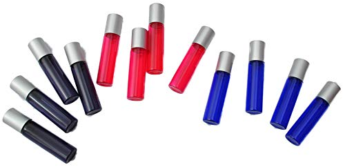 Mountain Reliable Products. Essential Oil Roller Bottles with Stainless Steel Balls, 12 per Order, .5 Ounces Each, 3 Colors (Purple, Pink, Blue)