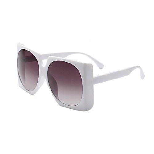 (MINCL/Square Sunglasses Women Retro Brand Designer Oversized Sun Glasses (white-gradient black))