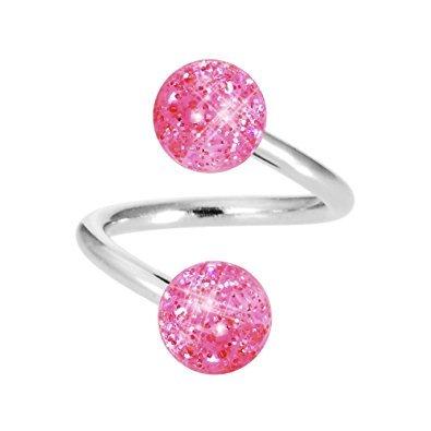 Horseshoe Glitter - Inspiration Dezigns 16G Twist Horseshoe Ring with Super Pink Glitter Balls