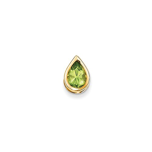 Perfect Jewelry Gift 14k 9x6mm Pear Peridot bezel pendant