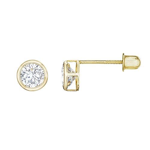 Solid 14kt Earrings (14kt Solid Gold Kids Stud Screwback Earrings - Clear)