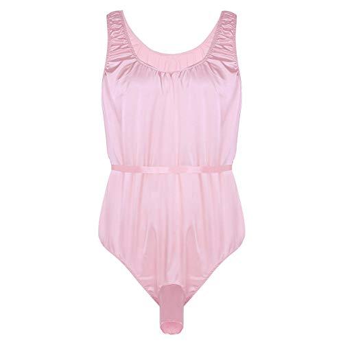 inlzdz Sexy Men's One-Piece Shiny Satin Bodysuit Nightwear Sissy Pouch Panties Pajamas Lingerie Pink X-Large -