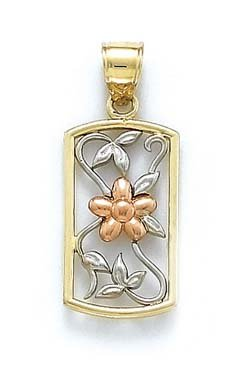 Tricolore 14 Carats Pendentif Fleur JewelryWeb