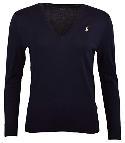 Polo Ralph Lauren Womens Pima Cotton V-Neck Logo Sweater - M - Navy