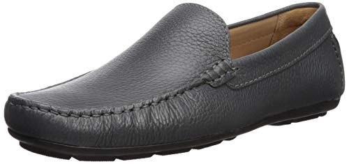 Driver Club USA Mens Genuine Leather Made in Brazil San Diego Loafer Driving Style, Grey Grainy, 11.5 D(M) US
