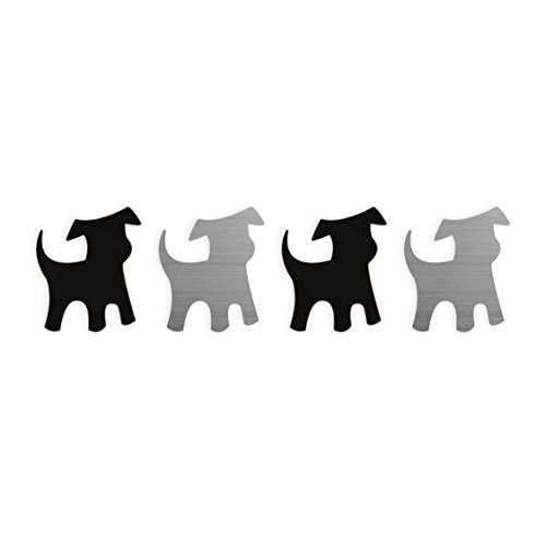 Three By Three Seattle Shape Up! Metal Magnets, Dogs, Stainless and Black (23045)