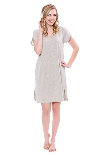 (Women's Jersey Short Sleeve Nightgown - Elegant Sleepwear by Texere (Melodream, Heather Platinum, Medium) Jersey Short Sleeve Top TX-WB040-003-21G2-R-M)