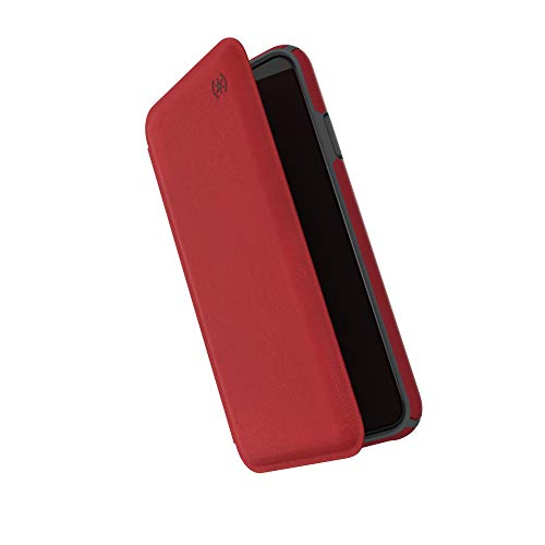 Speck Products Presidio Folio iPhone Xs Max Case, Heathered Heartrate Red/Heartrate Red/Graphite Grey