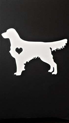 Golden Retriever Dogs Vinyl Decal Sticker|WHITE| Cars Trucks Vans SUV Laptops Wall Art|5.5