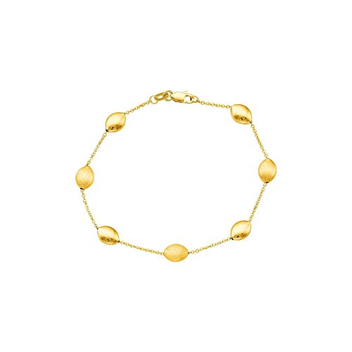 14k Yellow Gold Brushed and Polished Finish Pebble Station Necklace, 17 inches