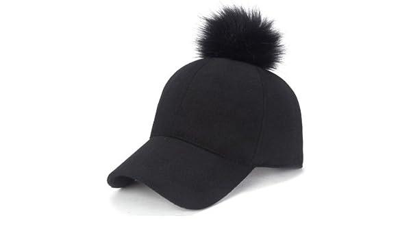 Amazon.com : QETUOAD Newest Baseball Cap Women Winter Snapbacks Hip Hop Girls Hat Warm Female Felt Hats Solid Adjustable Cotton Caps, Black Pompom : Sports ...