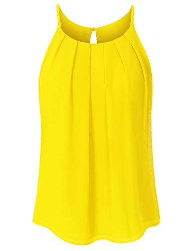 JSCEND Women's Round Neck Pleated Double Layered Chiffon Cami Tank Top A-Yellow 2XL ()