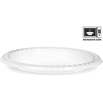 basix 100 count disposable plastic plates microwave safe 7 inch white kitchen dining. Black Bedroom Furniture Sets. Home Design Ideas