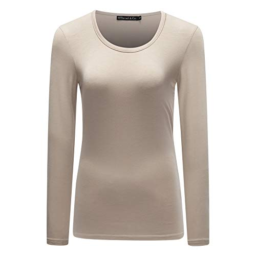 OThread & Co. Women's Long Sleeve T-Shirt Scoop Neck Basic Layer Spandex Shirts (XX-Large, Apricot)
