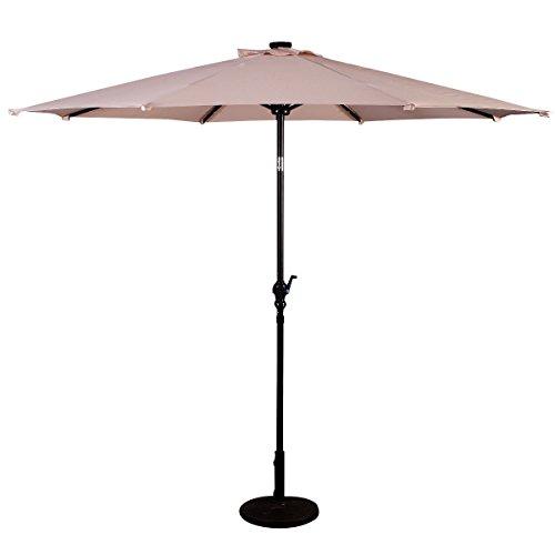 Patio Furniture Umbrella 10' Solar LED Steel Tilt With Crank Color Beige by premium patio umbrella
