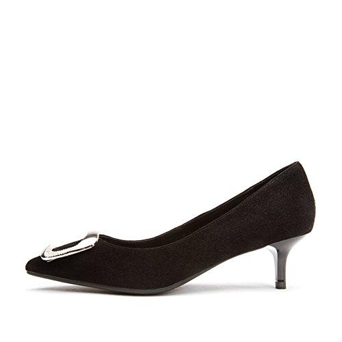 PUMPS Damen Flache Gläser und Fersen,Spitze Quadratische Schnalle Schuhe-A Fußlänge=23.8CM(9.4Inch)