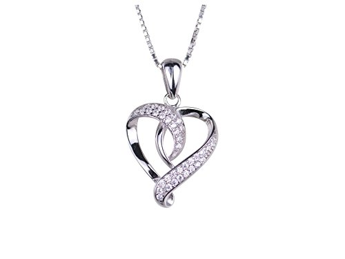 S925 Sterling Silver Open Heart Pendant with 38 Round Faceted Cubic Zirconia Stones Gift - Cubic Pendant Zirconia Open Heart