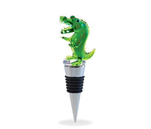 Puzzled Cheers Glass Wine Stopper, Alligator