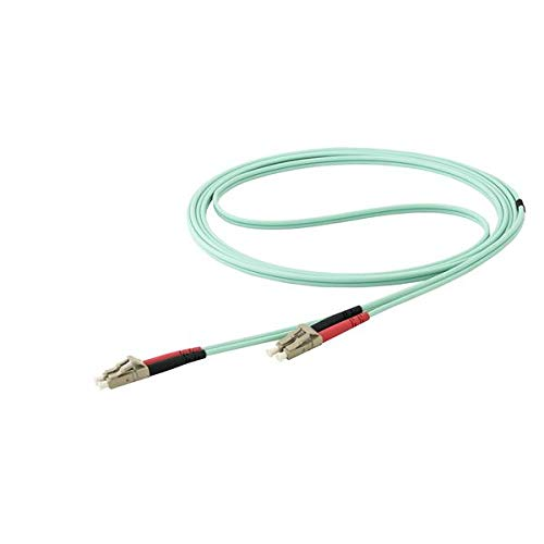 - 10 m OM4 LC to LC Multimode Duplex Fiber Optic Patch Cable- Aqua - 50/125 - Fiber Optic Cable - 40/100Gb - LSZH (450FBLCLC10)