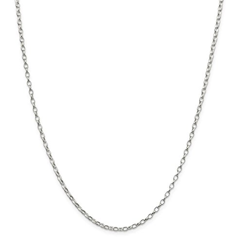 - 925 Sterling Silver 2.5mm Oval Polished Rolo Link Chain Necklace 20