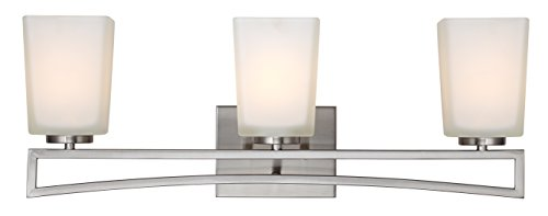 (Canarm LTD IVL471A03BN Alexa 3 Light Vanity, Brushed Nickel with Flat Opal Glass)