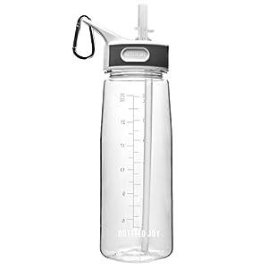 BOTTLED JOY Best Reusable Clear Water Bottle, Big Sports Water Bottles With Straw, BPA FREE Water Bottles 800ml 27oz