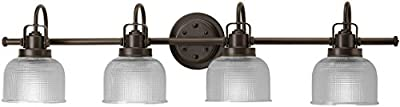 "Luxury Industrial Chic Bathroom Vanity Light, Large Size: 8.75""H x 35.5""W, with Modern Famrhouse Style Elements, Fashion Bronze Finish, UHP2047 from the Harlow Collection by Urban Ambiance"