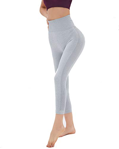 (Dutte Dutta Women Yoga Capri Leggings Seamless Ultra Soft Comfort Gray M)