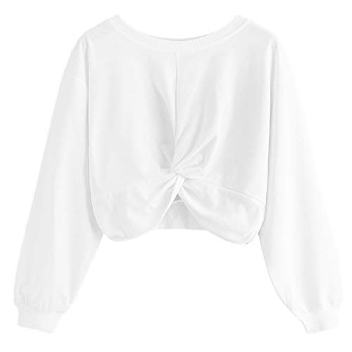Ameily Womens Long Sleeve Blouse Rainbow Patchwork O Neck Sweatshirt Casual Pullover Tops (A-White, ()