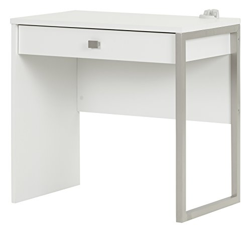 South Shore Interface Small Modern Simple Design Laptop Study Desk with 1 Drawer, Pure White