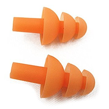 SODIAL(R) 2 x Guard Silicone Swim Swimming Earplugs Orange with Case