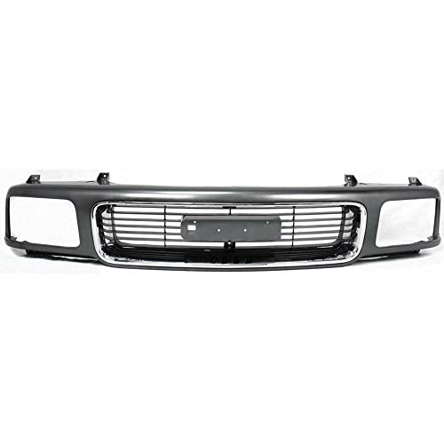 Grille compatible with GMC Jimmy 95-97 Sonoma 94-97 Silver Shell W/Gray Insert W/Composite Headlight
