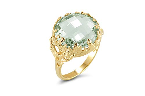 I REISS 14K Yellow Gold 6ct TGW Green Amethyst Ring
