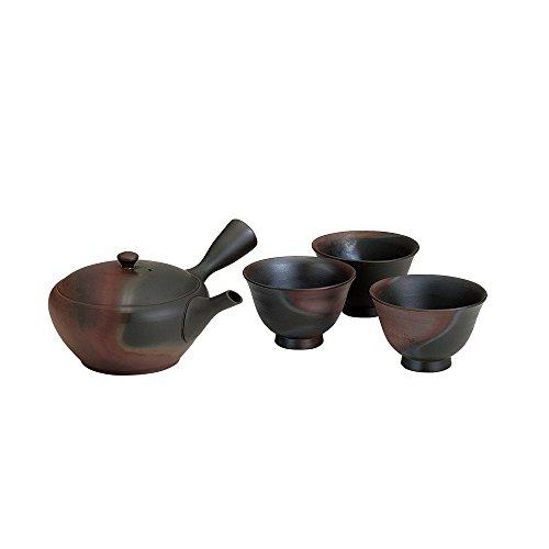 TOKYO MATCHA SELECTION - [Premium/VALUE] Tokoname Kyusu Set : GYOKKO - 1 Pot, 3 Cups from Aichi pref, Japan - Japanese Tea Pot [Standard ship by EMS: with Tracking & Insurance] by Tokyo Matcha Selection