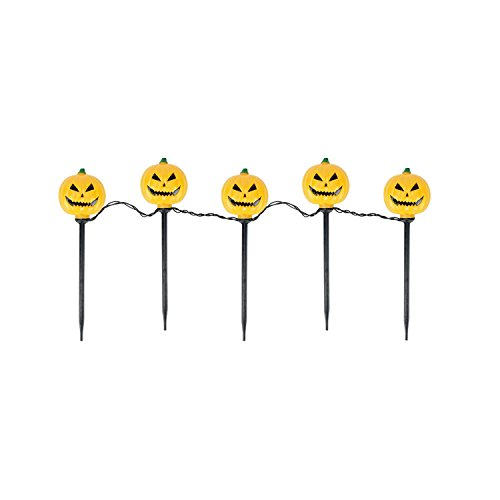 [PENN 90-237-066 Set of 5 Scary Jack-o-Lantern Pumpkin Halloween Pathway Marker Lawn Stakes-Clear] (Icarly Halloween)