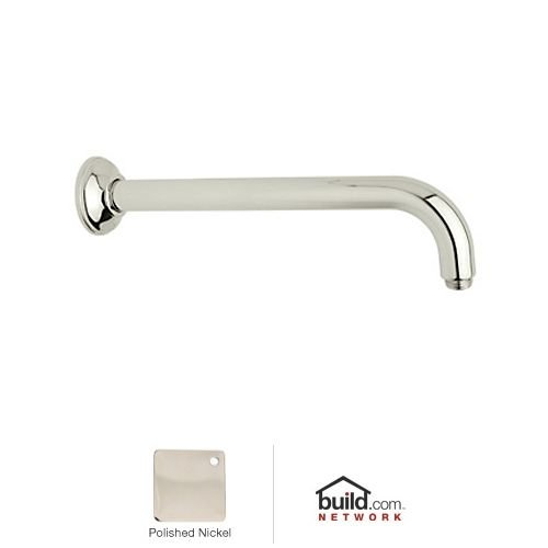 Rohl 1455/12PN 12-Inch Brass 1-Inch Diameter 1/2-Inch Male by 1/2-Inch Male Npt Michael Berman Wall Mounted Shower Arm, Polished Nickel
