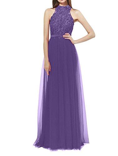 mia Violett Lang Spitze Aermellos Brau La Abschlussballkleider Abendkleider Neckholder Ballkleider Brautmutterkleider dqwOzvZ