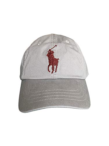 Ralph Lauren Polo Boys' Pony Baseball Hat Cap (ONE Size ONLY, Soft Grey/Burgundy Big Pony)